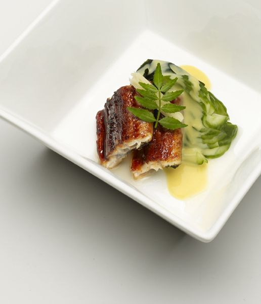 Grilled eel with egg yolk sauce.