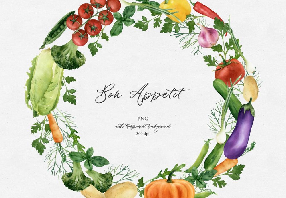 Watercolor Vegetable Wreath Clipart Png Fall Veggies Arrangement Food Harvest Wreath Kitchen Wall Decor Printable Digital In 2021 Clip Art Wall Decor Printables Wreath Watercolor