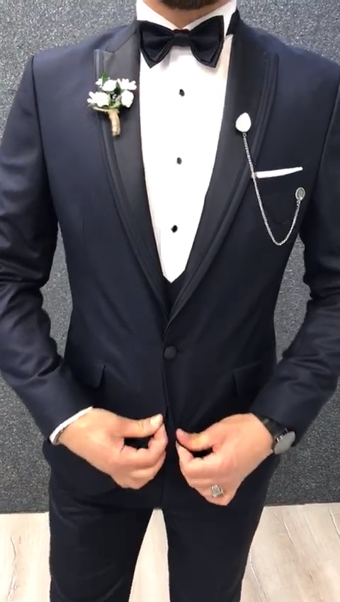 Acacia Navy Blue Slim Fit Tuxedo is part of Slim fit tuxedo - 7 Customer Support via Whatsapp, Facebook and Email  Delivery Free Shipping Worldwide  Checkout Safe & Reliable Payment Process NOTE Before placing an order, please check the size chart that is given below  Please scroll down and see your correct measurements