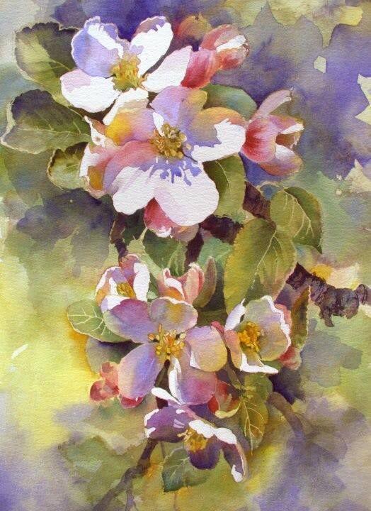 Aud Rye Watercolor Peinture Fleurs Aquarelle Fleurs Fleurs