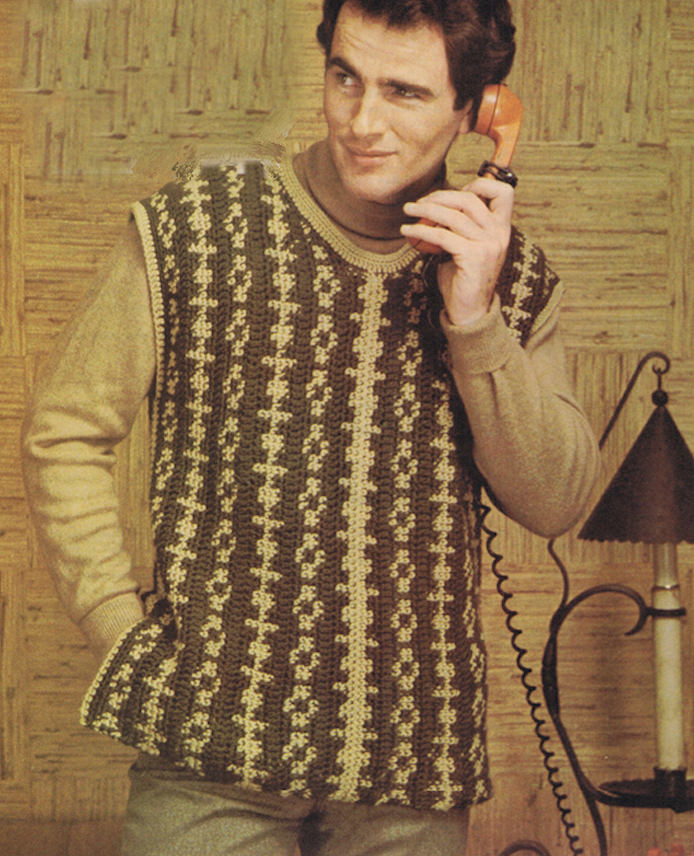 Crochet Pattern Men S Slip Over Sweater Vest Vintage Sizes Etsy In 2020 Crochet Patterns Vintage Knitting Patterns Tapestry Crochet Patterns
