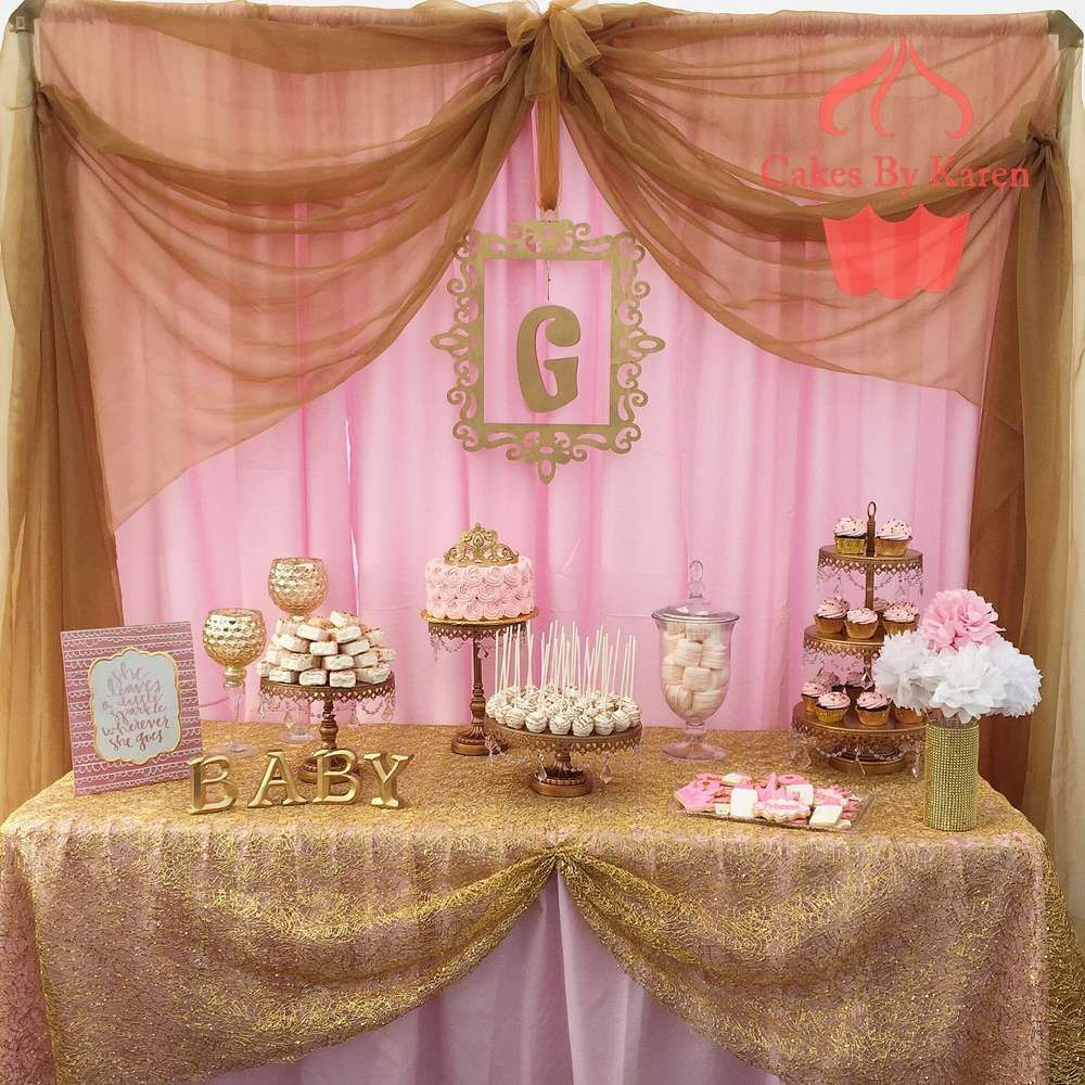 Pink and gold baby shower baby shower party ideas gold for Baby shower dekoration