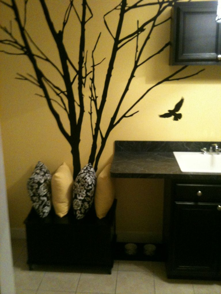 New laundry room colors - black countertop, gold on walls, black ...