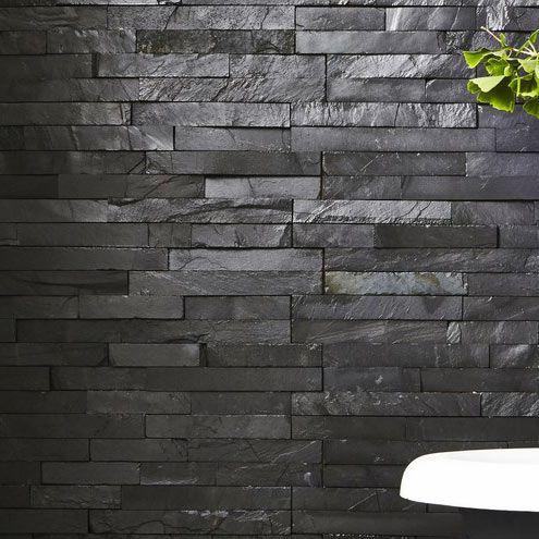 slate black split face tile 15x60cm   slate cladding