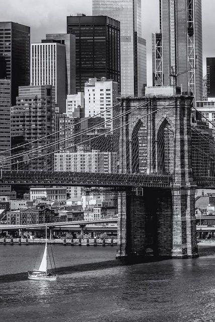 Poster oder Leinwandbild »M. Viola: NY CITY Brooklyn Bridge, Lower Manhattan« #naturallandmarks