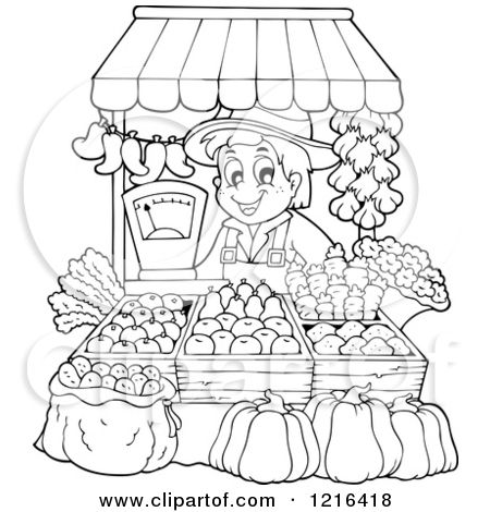Clipart Of An Outlined Farmer Selling Produce At A Stand Royalty Free Vector Illustration By Vise Vintage Coloring Books Animal Coloring Books Coloring Books