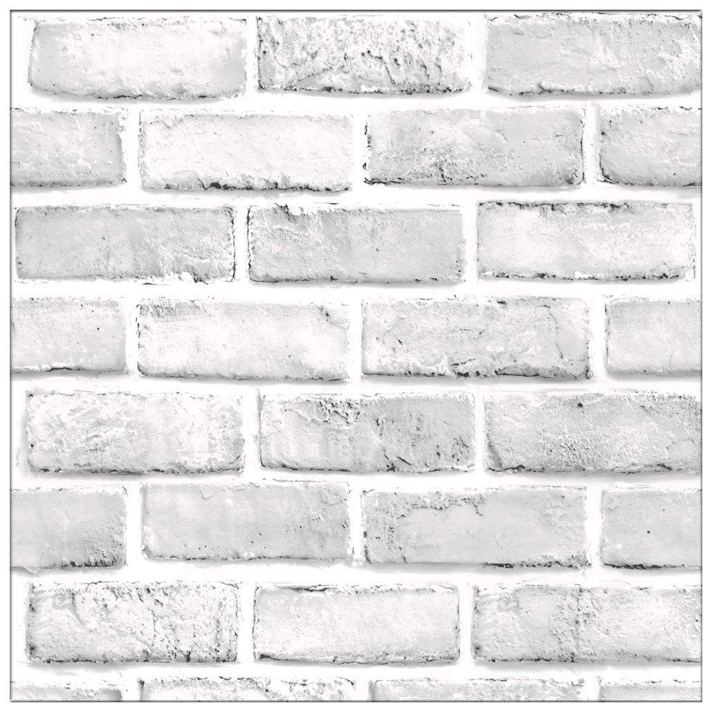 White Gray Brick Wallpaper, 3D Effect Vintage Blocks Peel