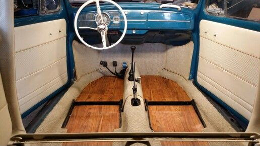 Upholstered My Son S 64 Vw Bug And Added Wood Flooring Vw Beetle Classic Vw Beetles Vw Bug Interior