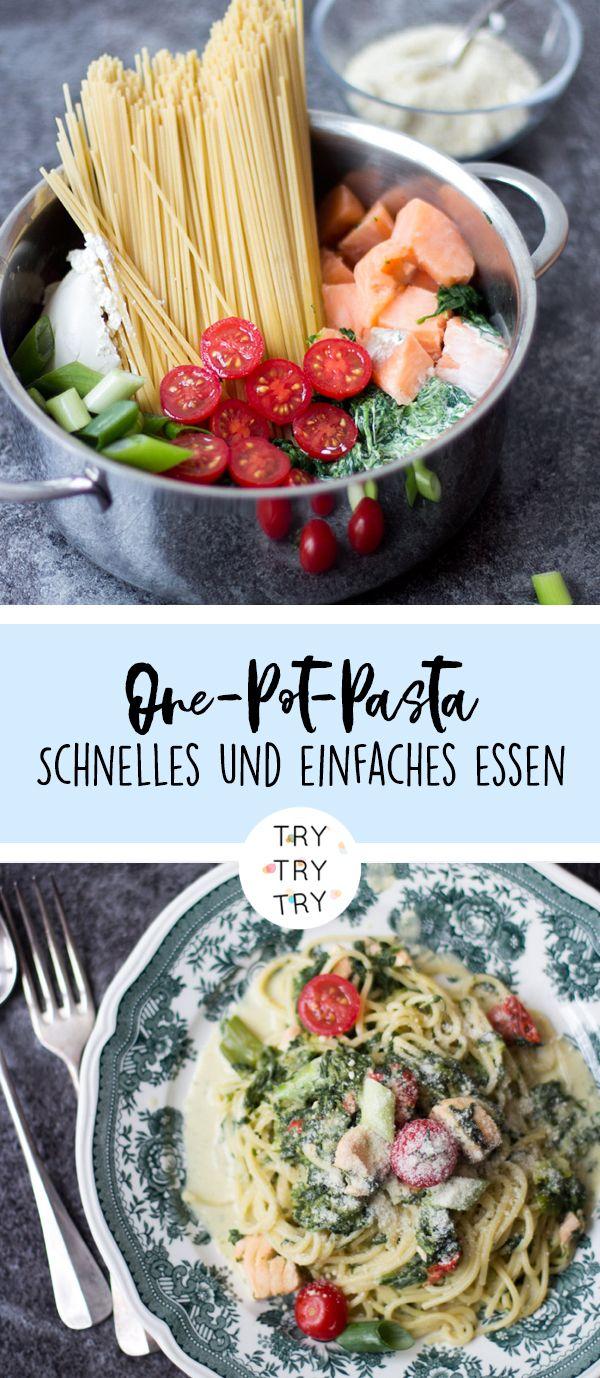 One-Pot-Pasta mit Lachs - einfaches und schnelles Essen - Alles in einem Topf - Eintopf mit Pasta und Lachs, Spinat und Tomaten - leckeres und kreatives Rezept - Rezept für Faule