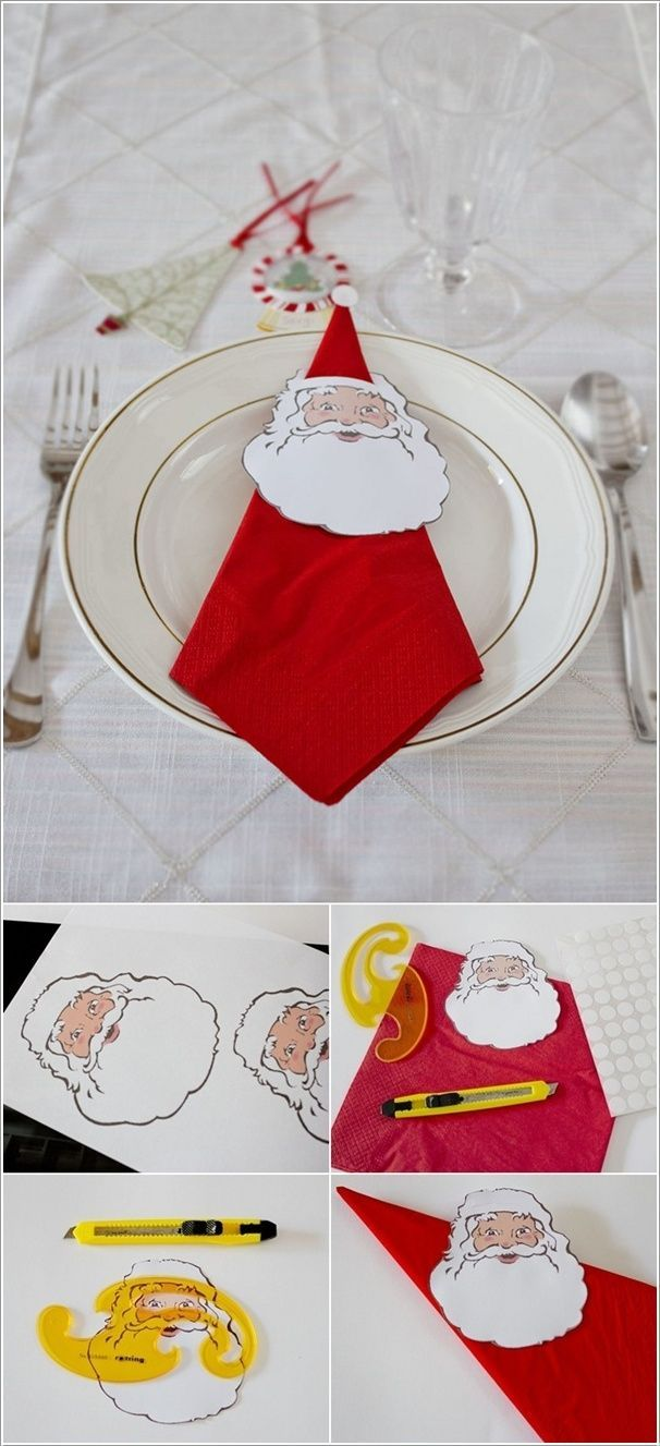One of the most important elements of Christmas day is the decoration of the dinner table. For that if you turn ordinary napkins into folded designs or embellish them with different things half of the table decor work will be done. So off you go for some interesting and great looking napkin ideas: 1. Paper Santa Clause Napkin HolderImage Source:ca...: