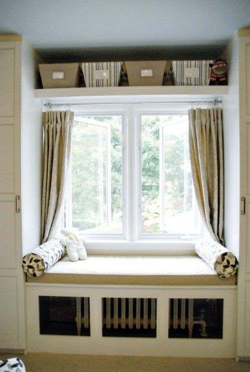 window seat curtains bow love how this window bench hides the radiator and has added shelves from http pin by some bunnys on for home pinterest window