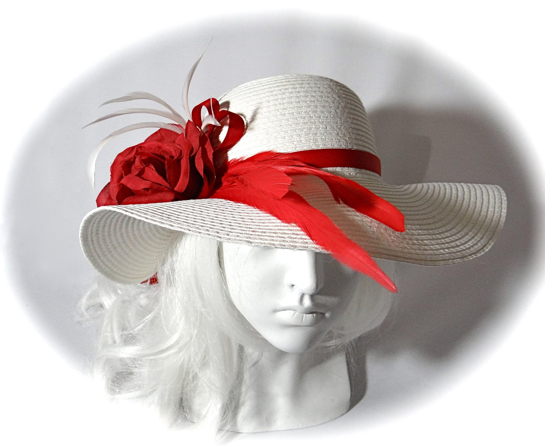 Red White Sun Hat Kentucky Derby Hats Women S Hat Formal Hats Dh 111 Derby Hats Hats For Women Kentucky Derby Hats