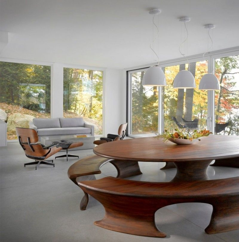 Magnificent Lake House Designed By Brian Mac: Oval Dining Table Curve  Shaped Bench Bowl Pendant Good Ideas