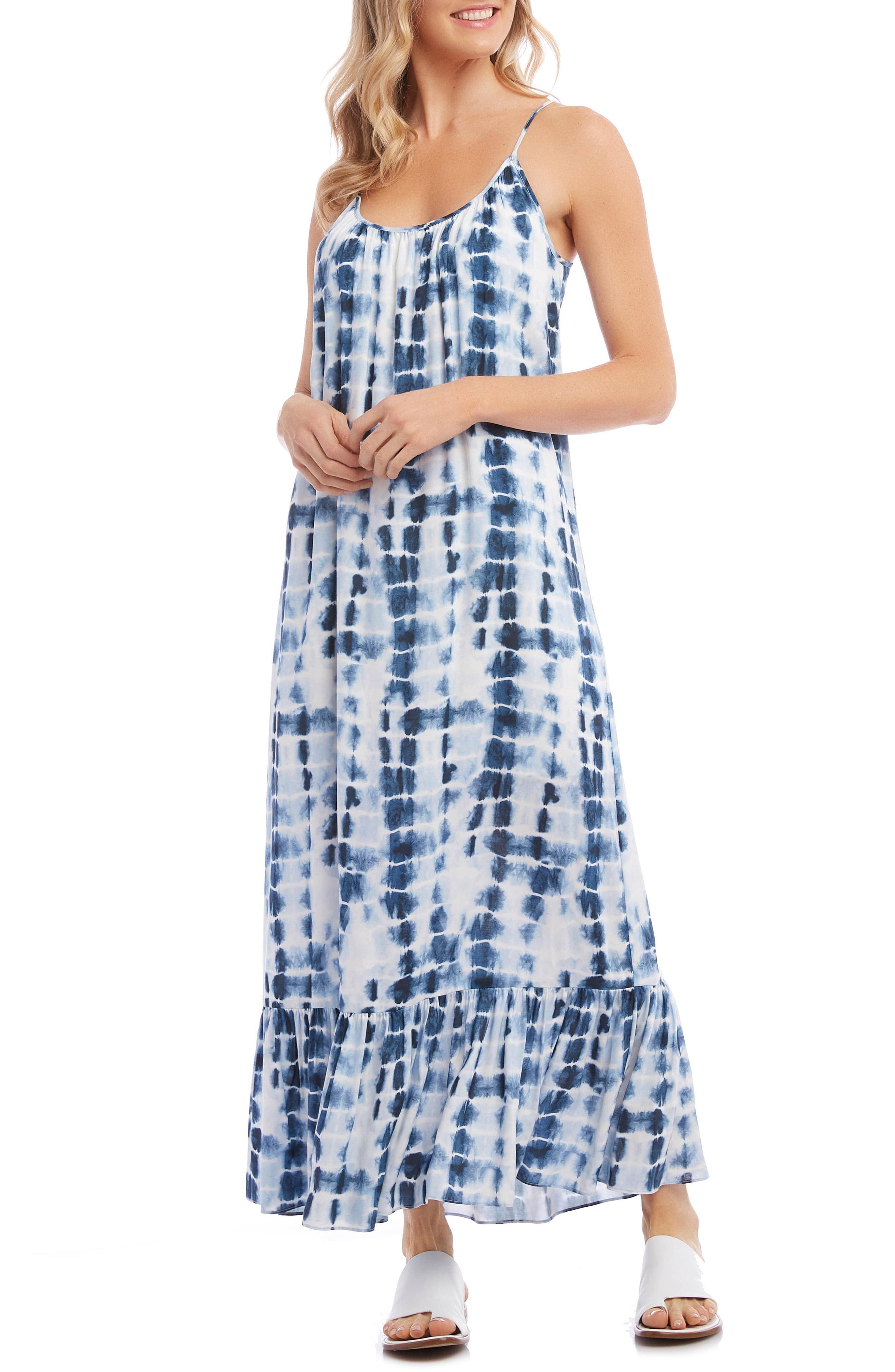 Women S Karen Kane Ruffle Hem Maxi Dress Size Small Blue Tie Dye Maxi Dresses Maxi Dress Fashion Clothes Women [ 4048 x 2640 Pixel ]