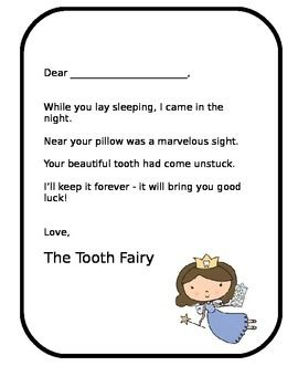Tooth Fairy Letter Lost Tooth Editable Printable Ready To Use