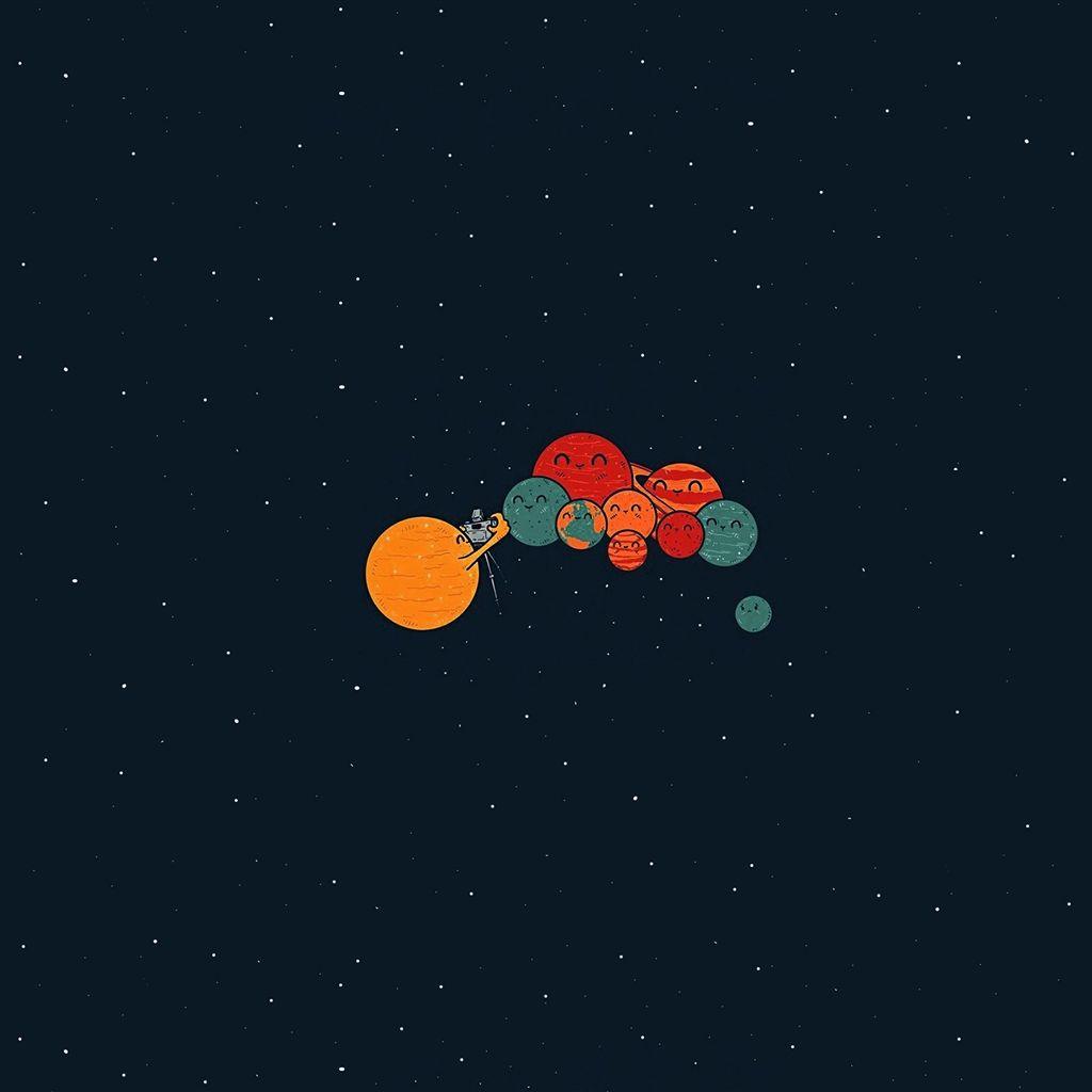 Planets Cute Illustration Space Art Blue Red Retina Ipad Air Wallpaper Galaxy S8 Wallpaper Space Art Ipad Air Wallpaper