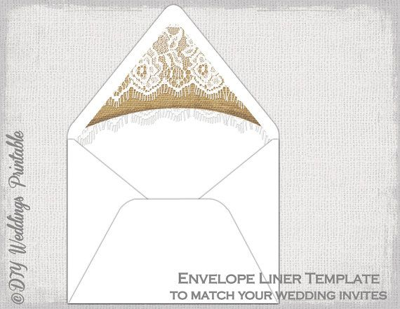 Rustic Wedding Envelope Liner Template Burlap  Lace Diy