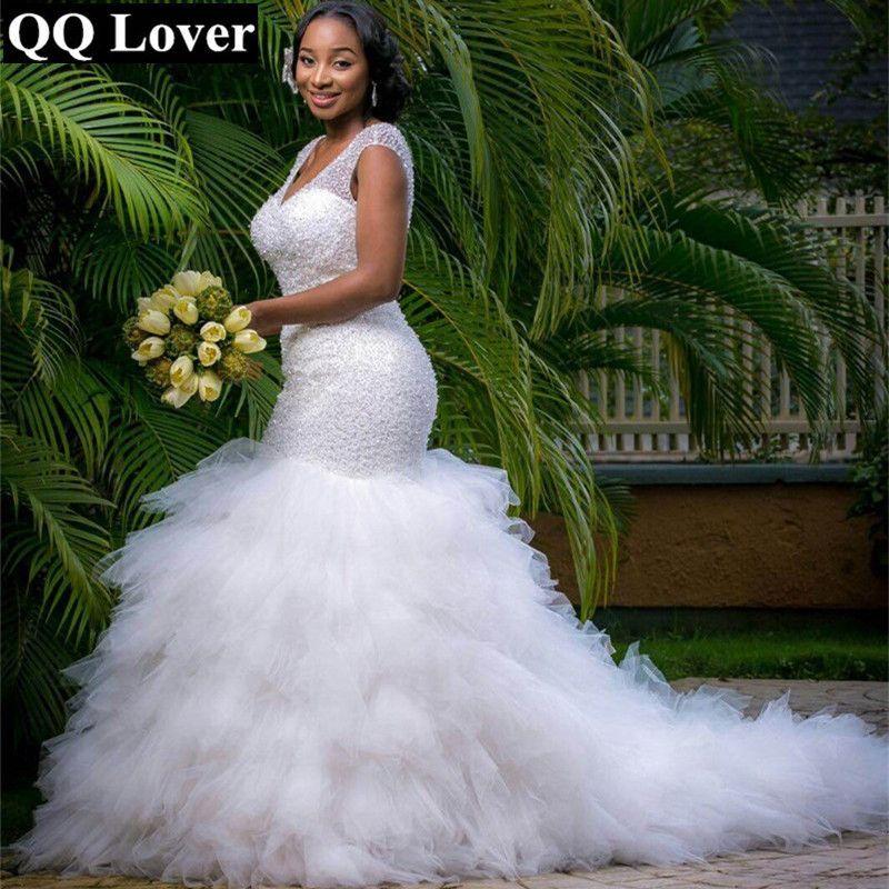 aecdfe494e08 QQ Lover Arabic Style Plus Size Wedding Dress 2017 Deep V Neck Beading  Layer Mermaid Wedding Chapel Train Beach Bridal Dress