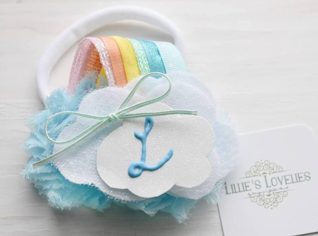 ~* Over the Rainbow *~ Monogram Pastel Headband or Clip Rainbow headband, Rainbow Birthday Party