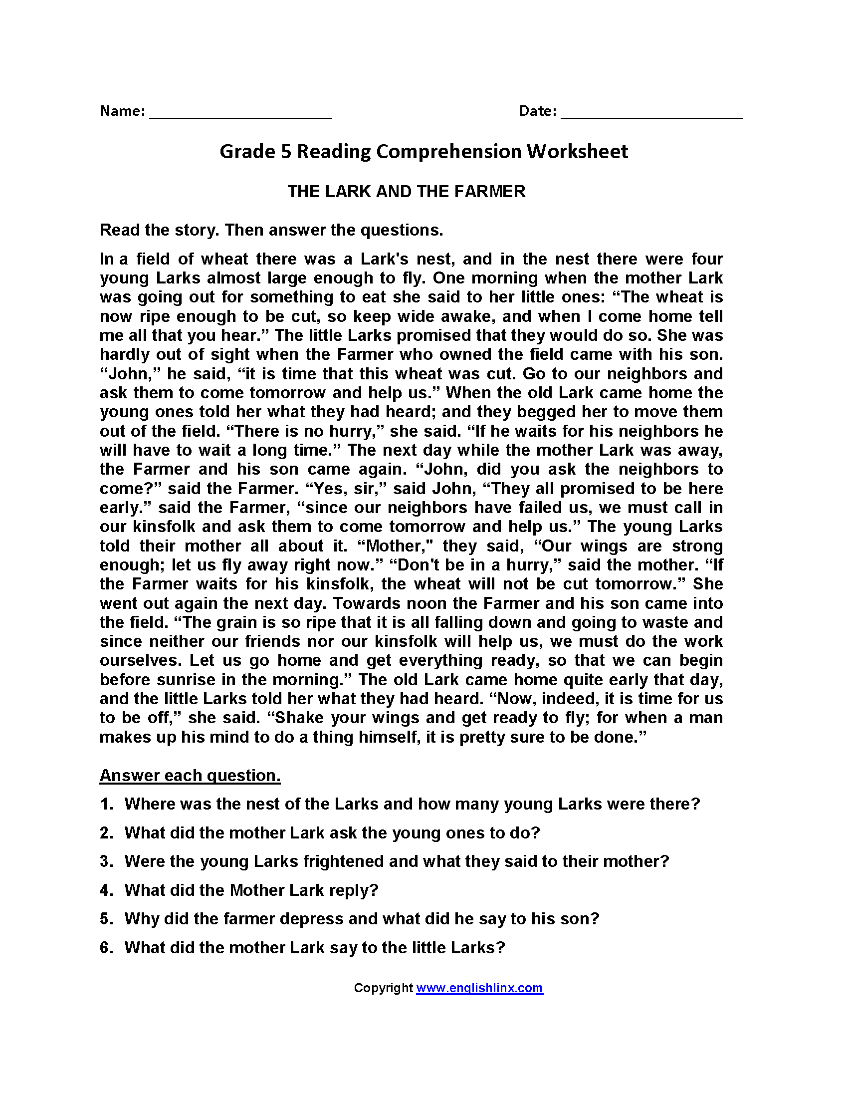 Lark And Farmer Fifth Grade Reading Worksheets