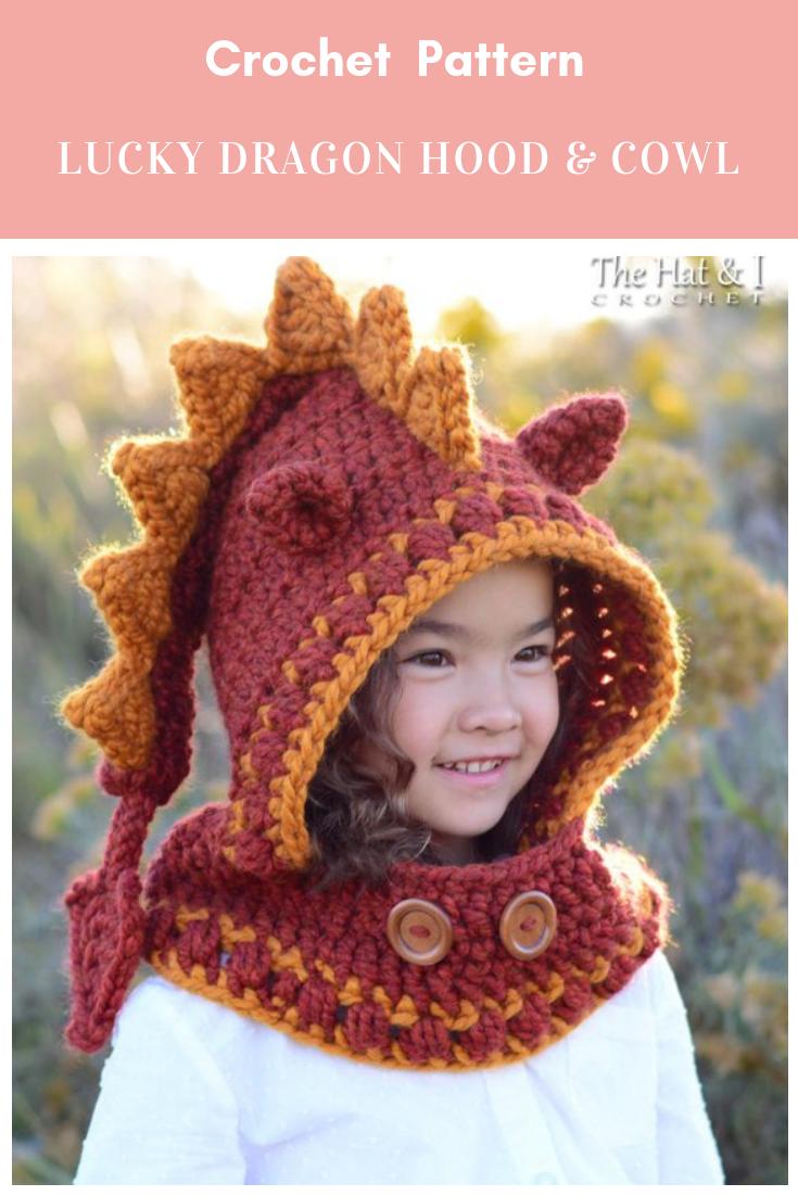 Crochet Pattern Lucky Dragon Hood Cowl Crochet Hood Pattern