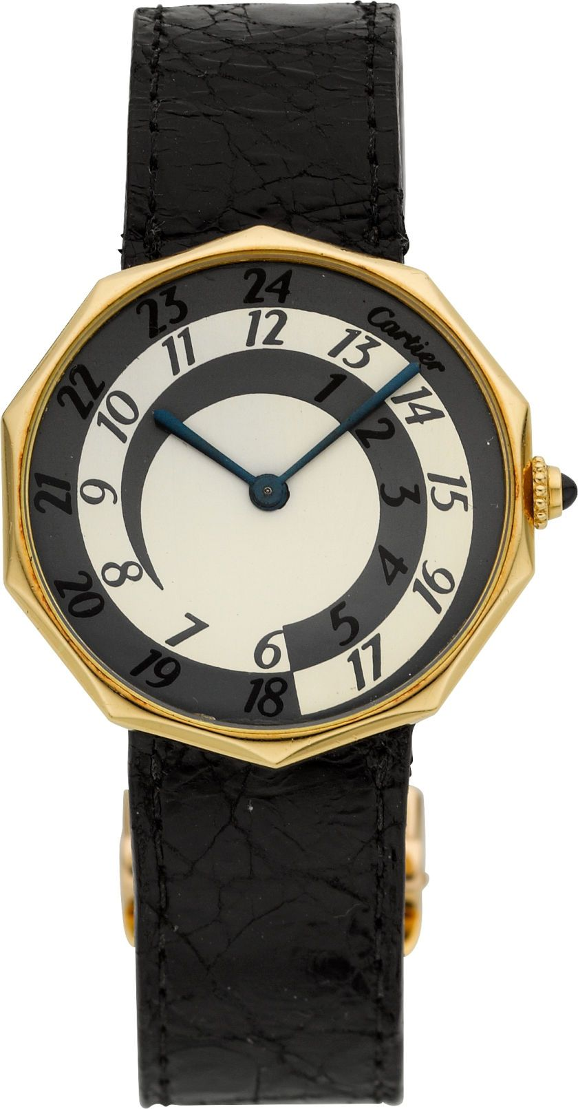 Cartier, London, Important & Unique Gold Decagonal Watch With Rare Enameled 24 Hour Day/Night Dial, circa 1968 Case: 18k yellow gold decagonal case, each edge with a curved bevel, cabochon sapphire set knurled crown, 23 mm Dial: cream and grey with 24 hour indication, the cream and grey portions divided for diurnal and nocturnal hours to create a spiral effect, tapered blue steel batons