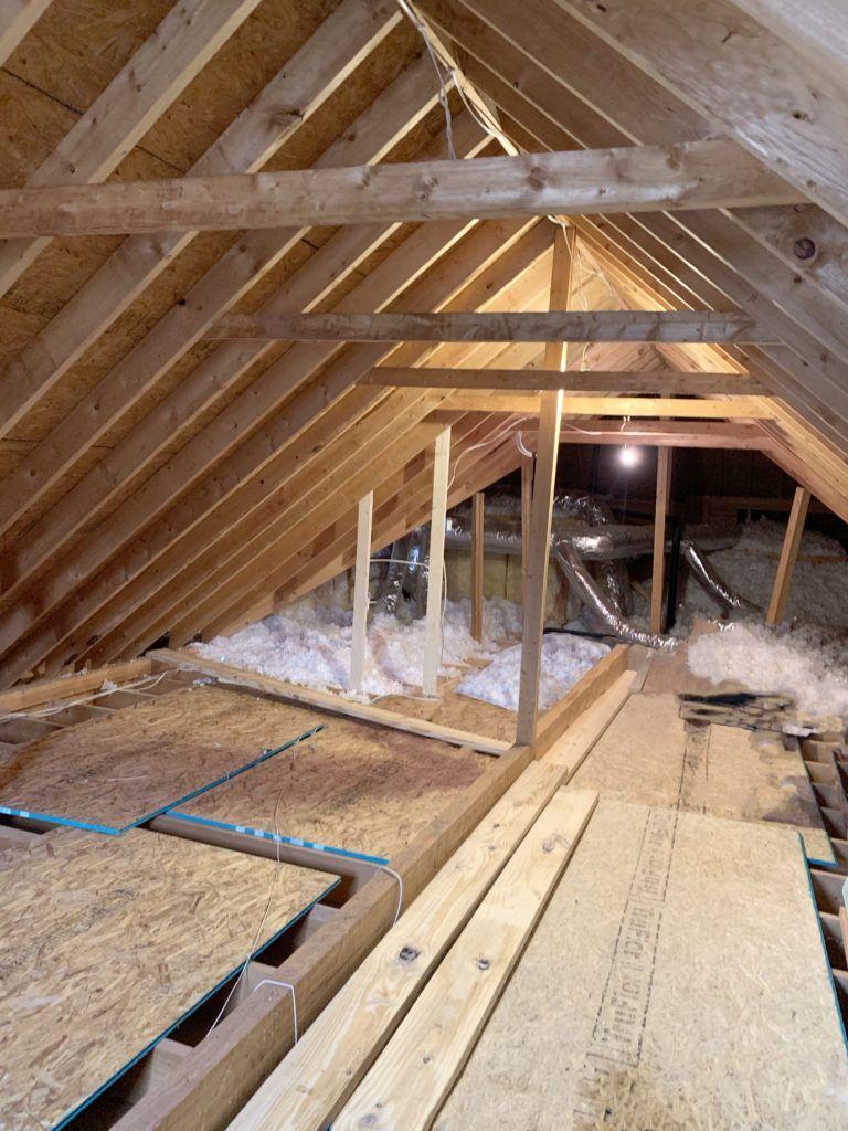 Attic Office Shiplap Ceiling Cedar Beams Are Done In 2020 Attic Office Shiplap Ceiling Finished Attic