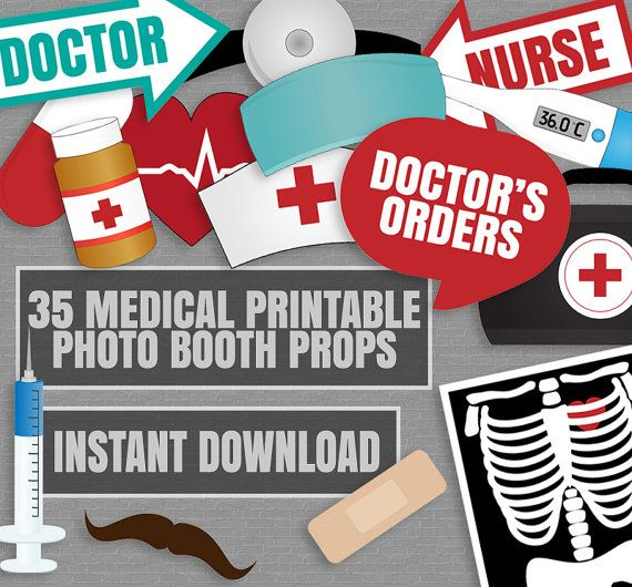35 Medical Themed Party Photo Booth Props by YouGrewPrintables