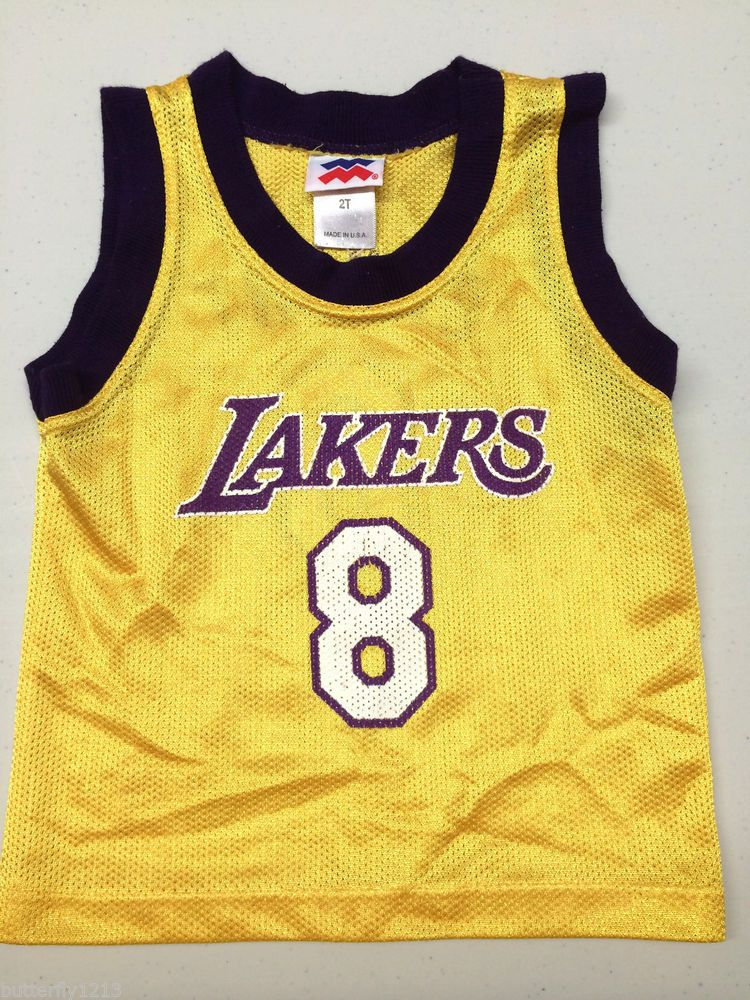 78cad14feabf LOS ANGELES LAKERS KOBE BRYANT  8 SLEEVELESS BASKETBALL JERSEY KIDS BOYS 2T  NAME