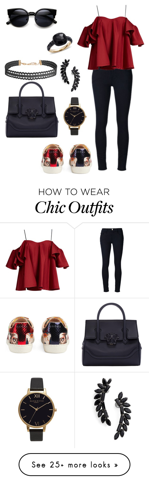 """""""Shopping look"""" by principessalove on Polyvore featuring Frame Denim, Anna October, Gucci, Versace, Olivia Burton, Cristabelle, Humble Chic and Pomellato"""