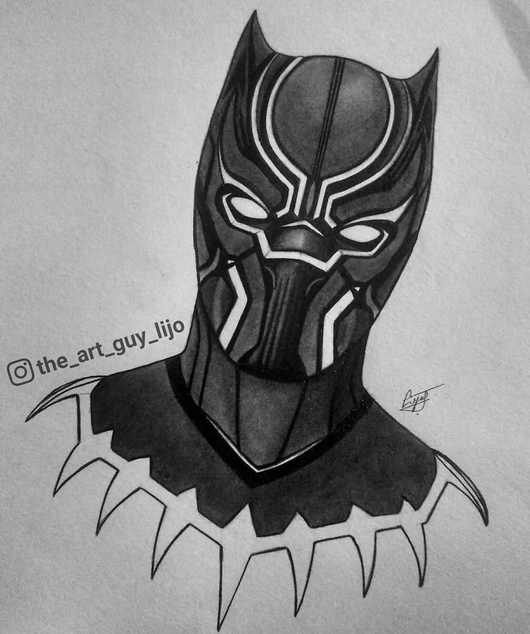Mechanical pencil sketch of black panther completed blackpanther