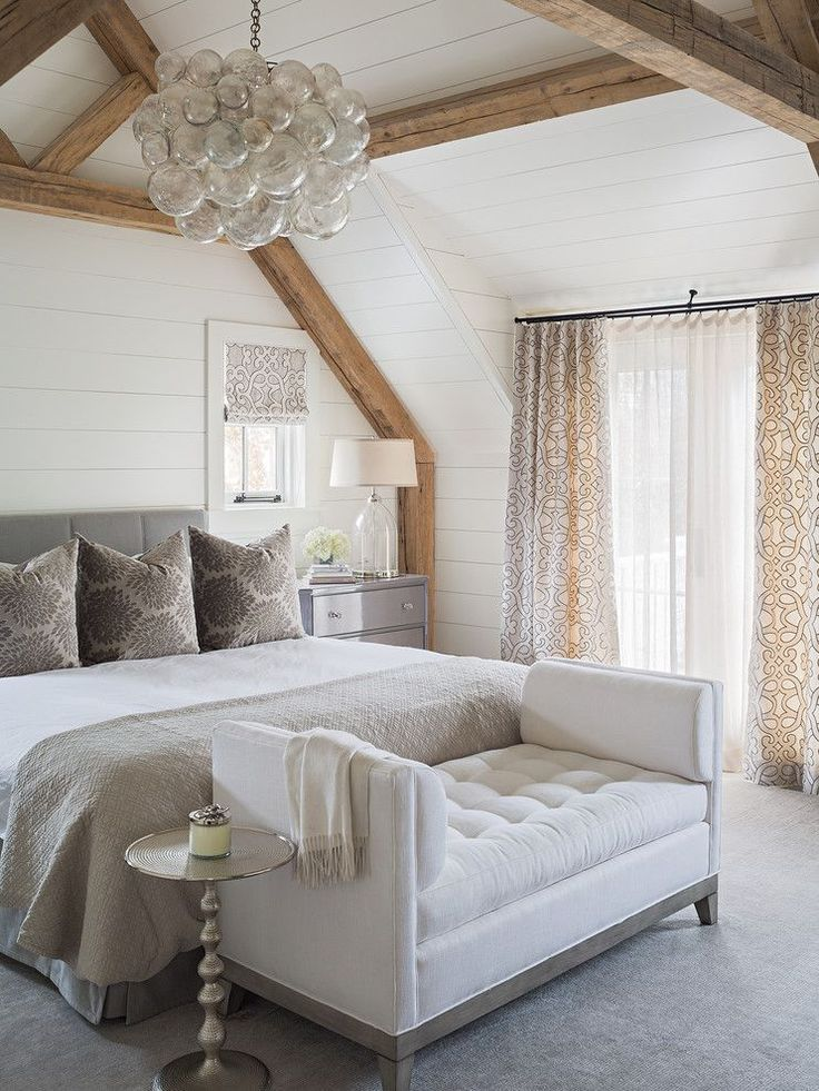 Elegant Master Bedroom With Floor To Ceiling Shiplap Exposed Wood Beams White Walls And Grey Carpet Elegant Master Bedroom Feature Wall Bedroom Home Bedroom