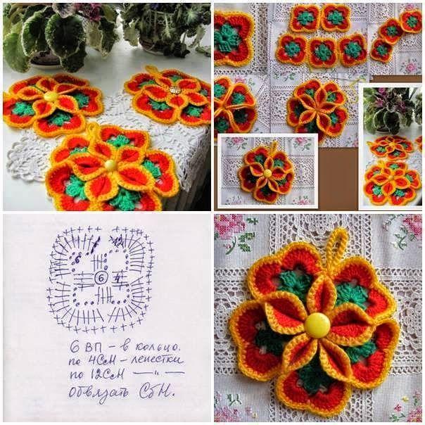 Ideas y patrones de cuatro modelos de flores al crochet | ΠΛΕΞΙΜΟ ΜΕ ...