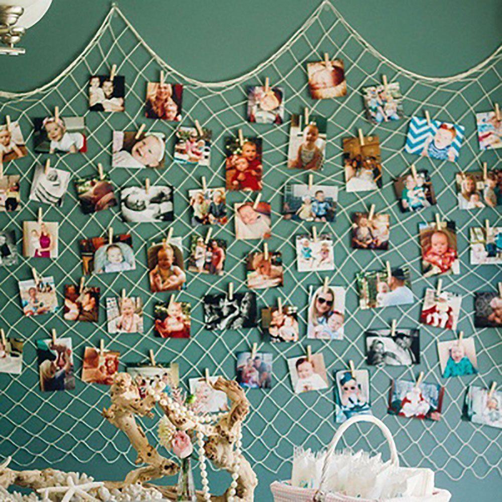 Clothespin photo hanger fishing net wall decor multi pictures clothespin photo hanger fishing net wall decor multi pictures organizer amipublicfo Gallery