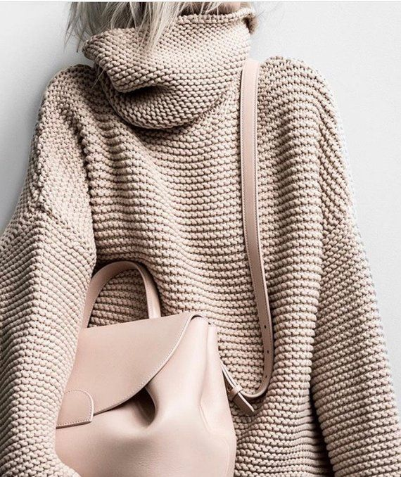 Chunky Cotton Turtleneck, Overeized Turtleneck, Handknitted Turtleneck, Big Sweater