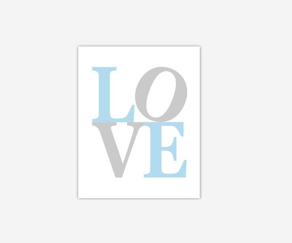 LOVE Baby Blue Gray Grey Baby Nursery Canvas Prints Girl Bedroom Toddler  Tween Living Room Home