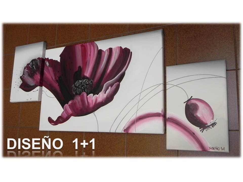 Cuadros flores triptico pintado a mano con acr lico sobre - Acrilico sobre lienzo ...