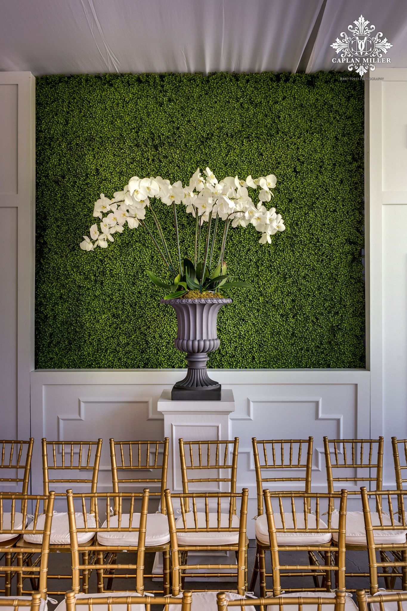 boxwood walls at wedding ceremony caplan miller events on interior using artificial boxwood panels with flowers id=23765