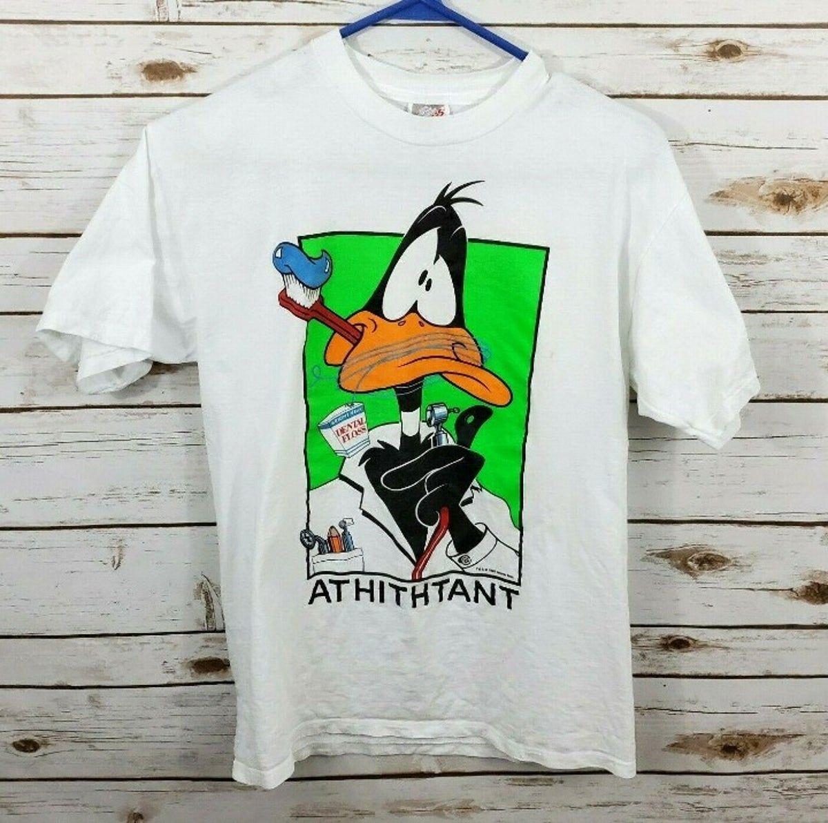 Vintage 1995 90s Daffy Duck Warner Bros T Shirt Daffy Duck Mens Tops