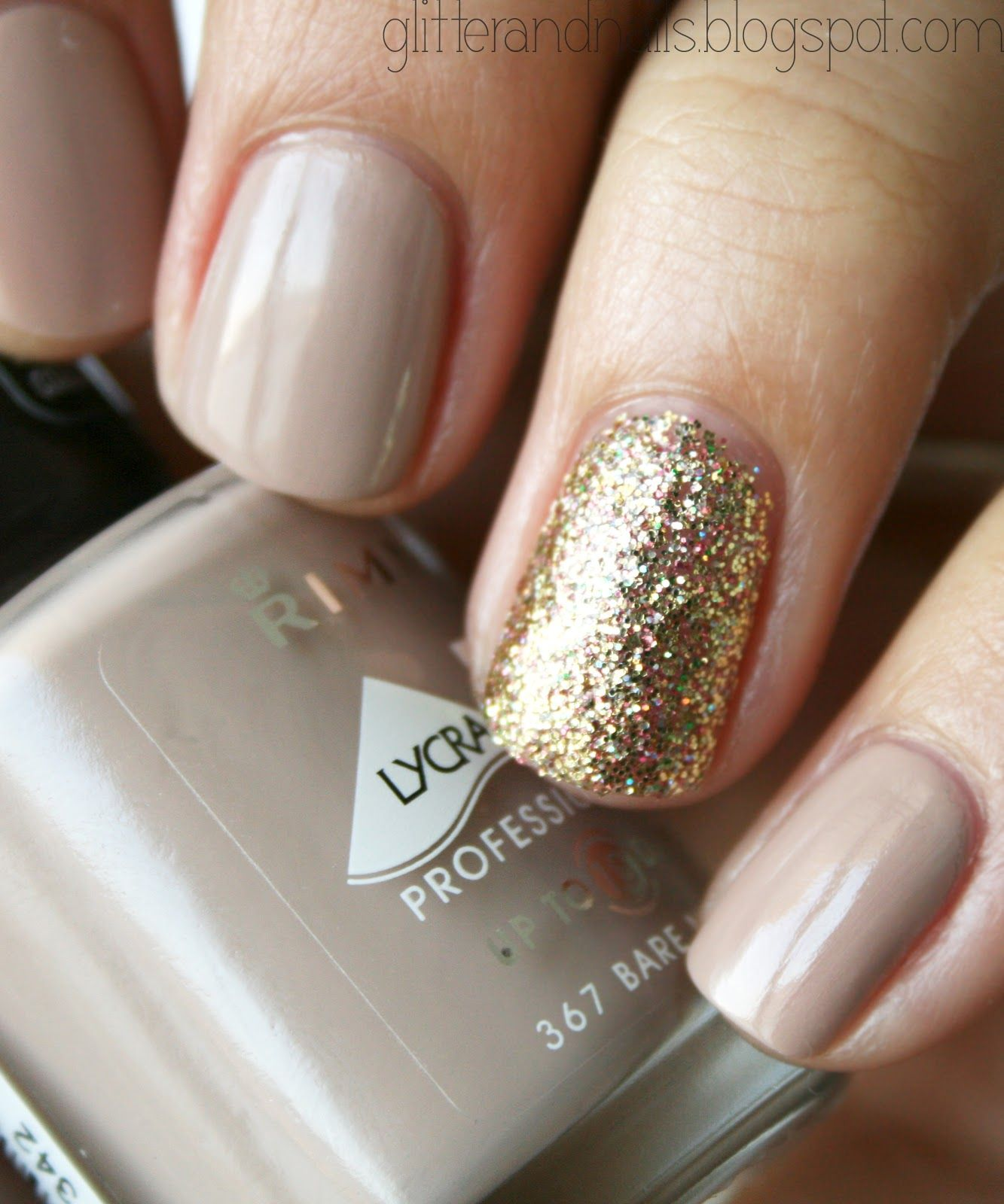 Glitter and nails i did this but with light pink instead of nude