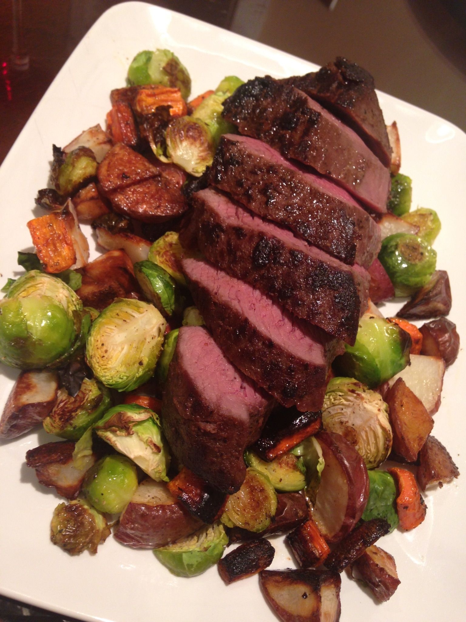 Venison With Roasted Brussels Sprouts Carrots And Potatoes Roasted Brussel Sprouts Spinach Artichoke Chicken Brussel Sprouts