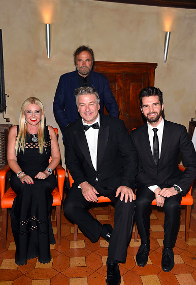 Producers Andrea Iervolino and Monika Bacardi with their special guests, the actors Alec Baldwin and Franco Nero at AMBI Group Rome Party!