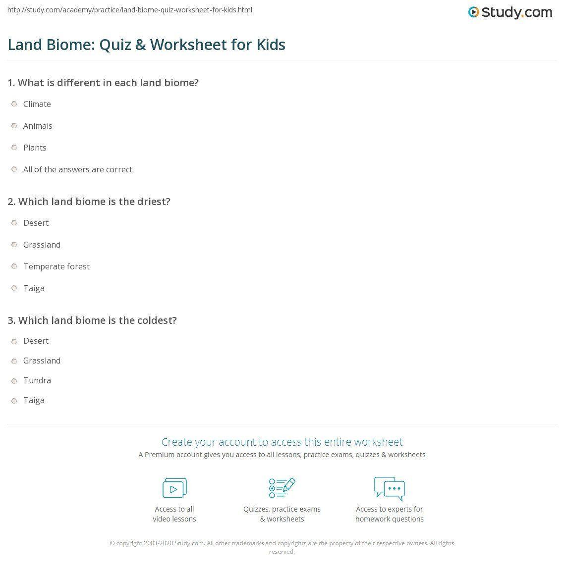 Biomes For Kids Worksheets Land Biome Quiz Amp Worksheet For