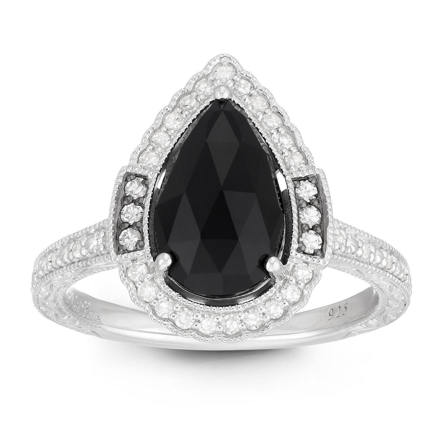 Neil Lane Designs Silver 1/5ct Diamond & Onyx Pear Ring