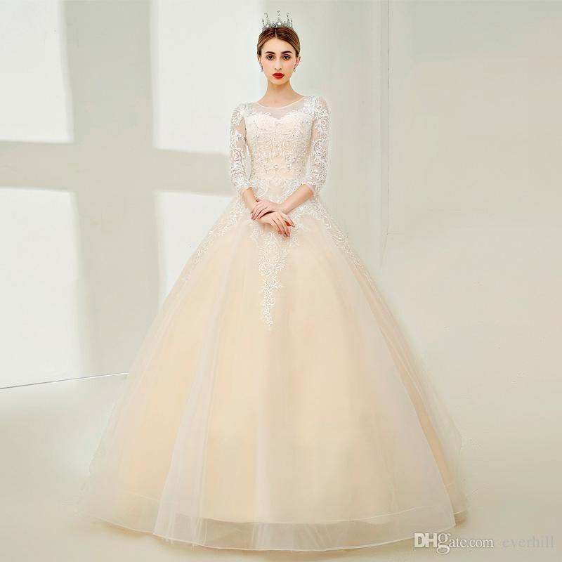 vestido de noiva 2018 Light Champagne Wedding Dresses With Sleeves ...