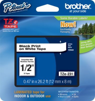 Brother Tze 231 1 2 P Touch Label Tape Black On White At Staples Label Printer Label Maker Tape Black Tape
