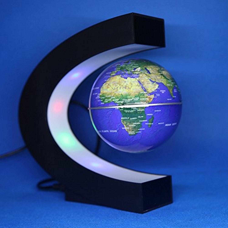 Floating Globe With Colored Led Lights C Shape Anti Gravity Magnetic Levitation Rotating World Map For Childr Floating Globe Colored Led Lights World Map Decor