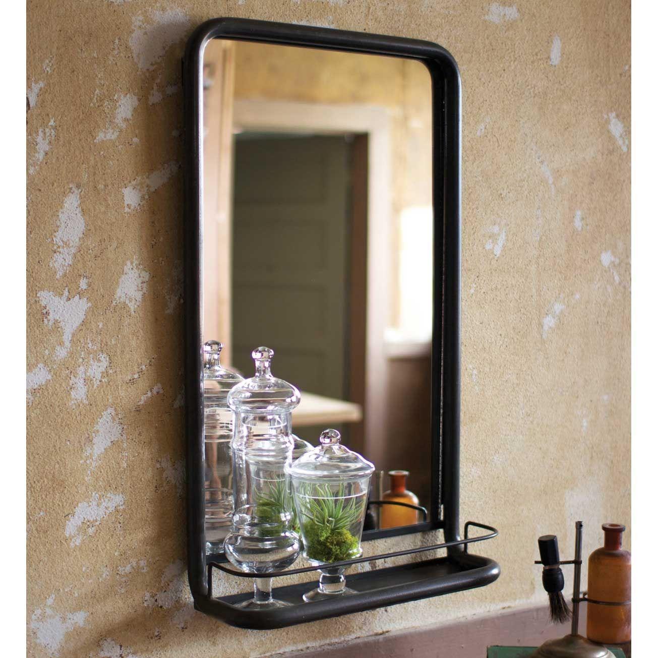 Rustic Metal Frame Farmhouse Mirror with Shelf Bathroom