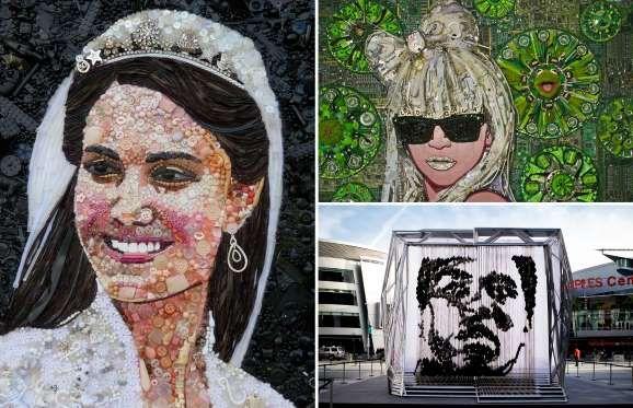 Artist portraits of famous people made from mixed media materials. x - Jane Perkins/Rex Shutterstock; Jason Mecier/Rex Shutterstock; Tibrina Hobson/FilmMagic