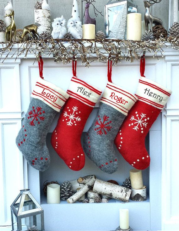 Primitive Wool Grey Red White Snowflake Christmas Stockings ...